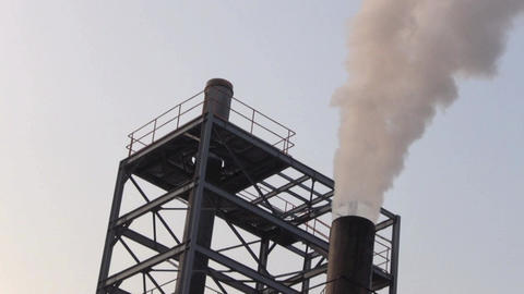 Pollution, Smoke And Steam Discharged From A Coal  stock footage