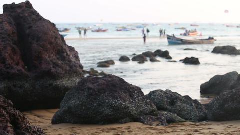 Tourist Walk On Sand Beach stock footage