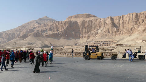 Tourists near temple of Hatshepsut in Egypt 4k Footage