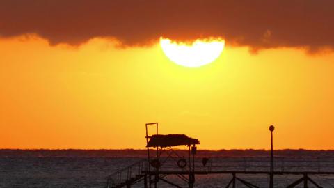 Beauty Sunrise Over Sea - Timelapse, Telephoto stock footage