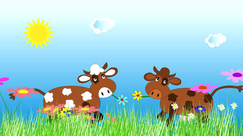 Funny cow dancing and grazing on a green meadow CG動画素材