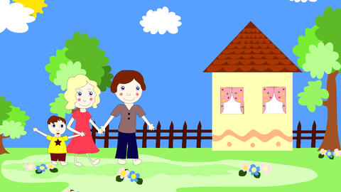 Happy European family goes to a new home Animation