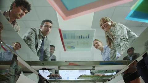 team of business people working in office meeting  Footage