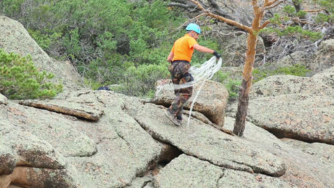 Rock Climber stock footage