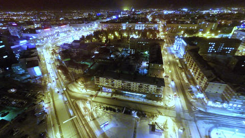 Panorama Of The City From A Great Height At Night stock footage