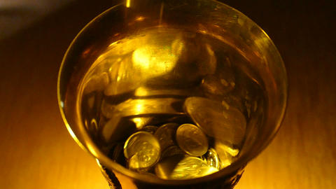 Bowl With Money (slow Motion) stock footage