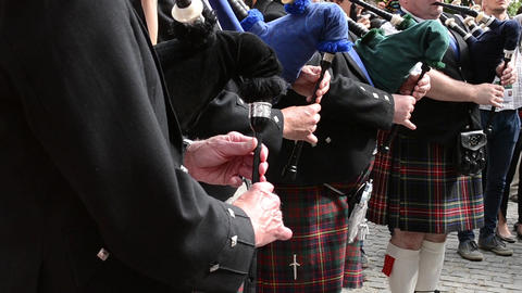 Bagpipe Band Singers stock footage