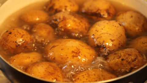 Boil Potatoes In Pan stock footage