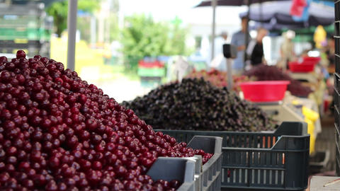 Bunch of Cherries at Market Footage