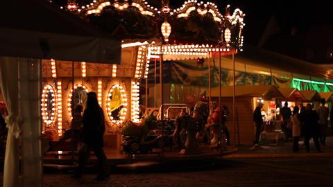 Carousel at Night Footage
