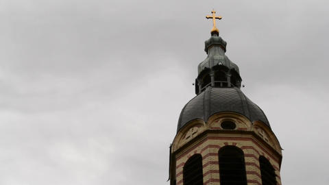 Clouds Over Church Golden Cross Timelapse stock footage