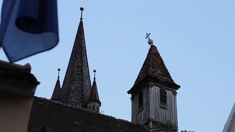 Crooked Cross On The Steeple stock footage