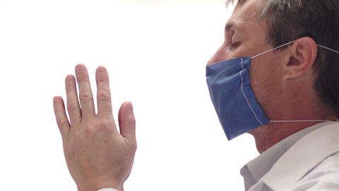 Doctor With Mask Praying Side View Footage