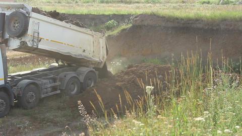 Dump Truck Unloads Footage