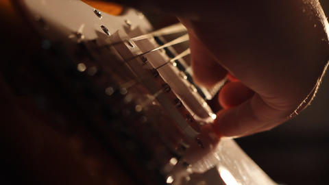 Electric Guitar Low Angle Shadows stock footage