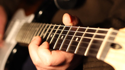 Fingers Play on Electric Guitar Footage
