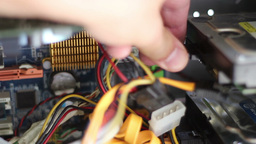 Install Power Conector On Hard Disk Drive stock footage