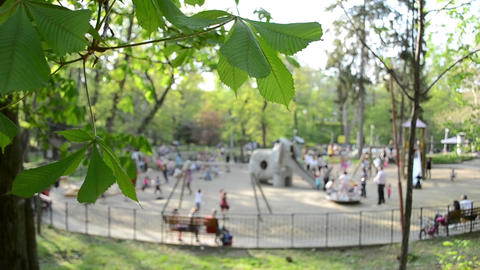 Kids Playing In Park Playground Footage