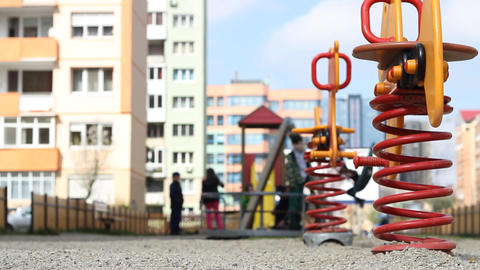 Kids Playing at Neighborhood Playground Footage