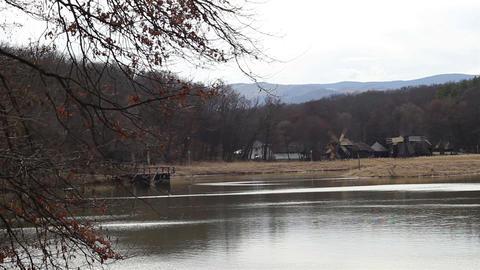 Lake And Windmills stock footage