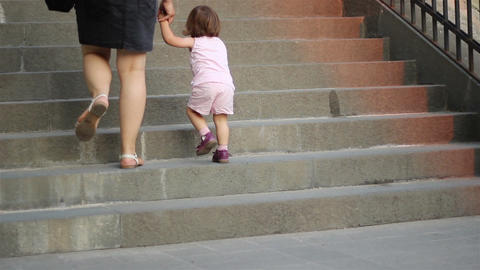 Little Girl Climbing Stairs Footage