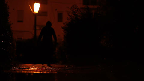 Man Carrying Bag in the Dark Footage
