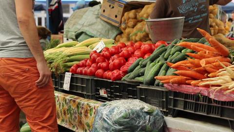Man Buys Fresh Vegetables Footage