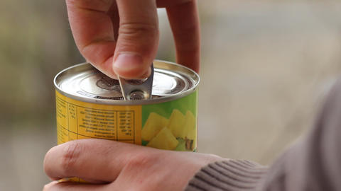 Man Opens Canned Food Footage