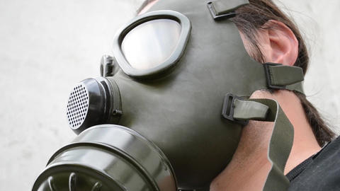 Man With Gas Mask Nod Footage