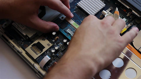 Mounting RAM Memory On Laptop stock footage