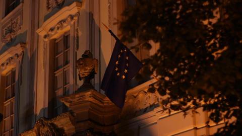 Night European Union Flag Footage