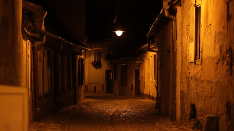 Night Old Houses Crossroads Stock Video Footage