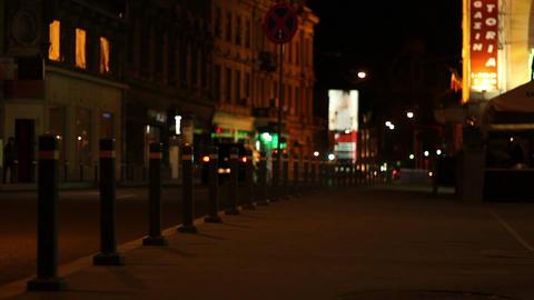 Nighttime Empty Sidewalk Footage