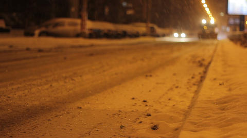 Nighttime Snow Plow Truck stock footage