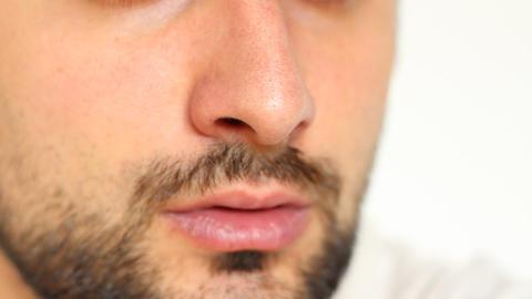Nose Inhalation stock footage