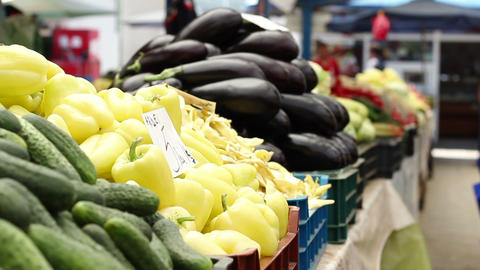 Organic Eggplant And Peppers stock footage