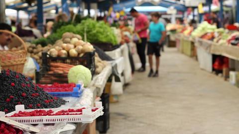 Organic Food Market stock footage
