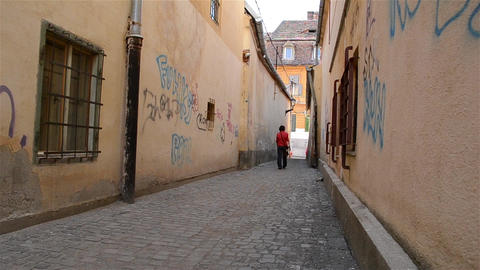 Paved Alley Between Houses Footage