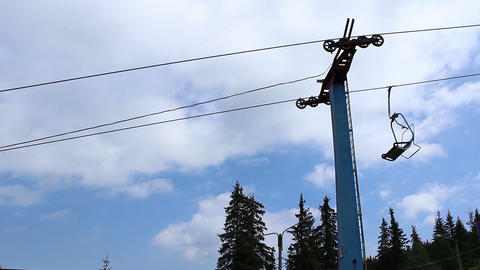 Pillar of a Chair Lift Track Footage