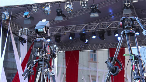 Professional Camera On Tripod stock footage