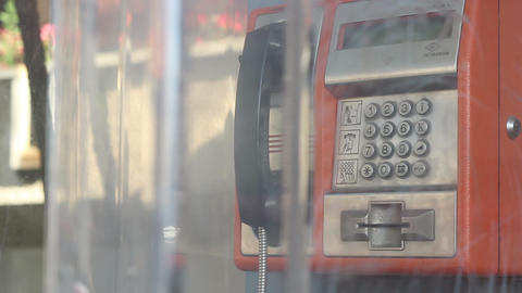 Public Phone Answering Close Up stock footage