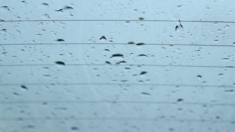 Rain Drops Flatten On Windows stock footage