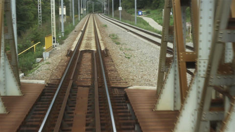 Railroad Over Iron Bridge stock footage
