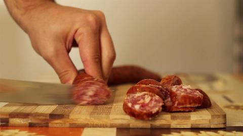 Slicing Homemade Sausage Footage