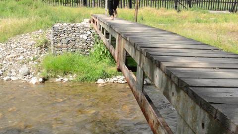 Steps on Small Pedestrian Bridge Footage