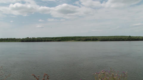 Very Wide River Panorama Footage