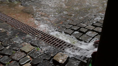 Water Flows through the Drain Trough Footage