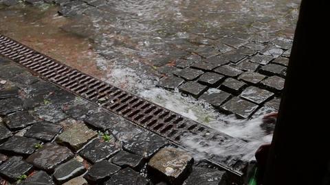 Water Flows through the Drain Trough Footage