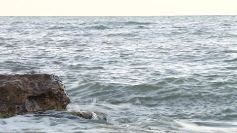 Waves on Rocky Shore Footage