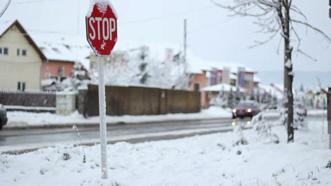 Winter Traffic Sign stock footage